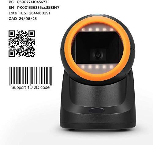 Barcodescanner Barcodeleser MUNBYN QR 2D 1D Plug & Play USB Automatischer Omnidirektionaler Barcodescanner CCD Desktop Justierbarer Kopfwinkel Stationär Scanner für Linux Mac und Windows PC