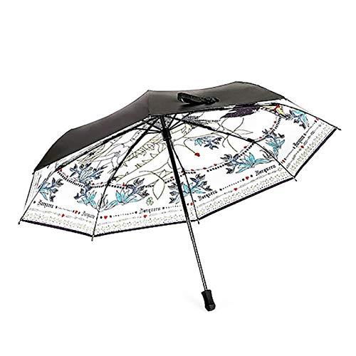Regenschirm Sonnenschutz Anti-UV-DREI Folding Sonnenschirm Handbemalte Glas Sonnenschutz Sonnig und Regen Regenschirm (Color : Black, Größe : 97 * 60cm)