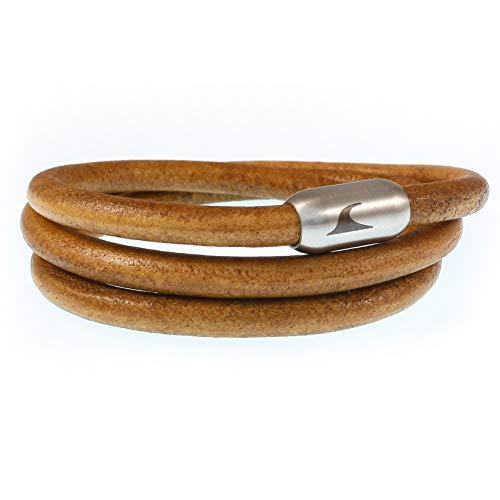 WAVEPIRATE® Echt Leder-Armband Storm R Cognac/Silber 65 cm Edelstahl-Verschluss in Geschenk-Box Surfer Männer Herren