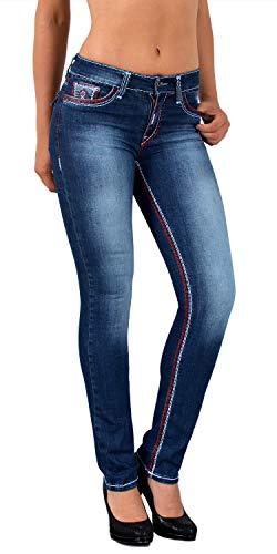 ESRA Damen Jeans Jeanshose Damen Hose Straight Leg rote Dicke Naht Jeanshosen Damenjeans bis große Größen J755
