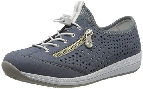 Rieker Damen Frühjahr/Sommer N1165 Sneaker, Blau (Jeans/Sky/Ice/Bleu-Silver 14), 40 EU