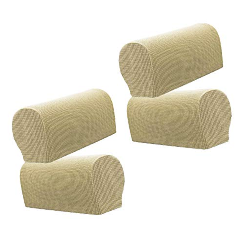 SM SunniMix 4 Stück Armlehnenschoner Sesselschoner Sesselhusse Sesselüberwurf Polsterschutz Sesselzubehör Lehnenüberwurf - Beige