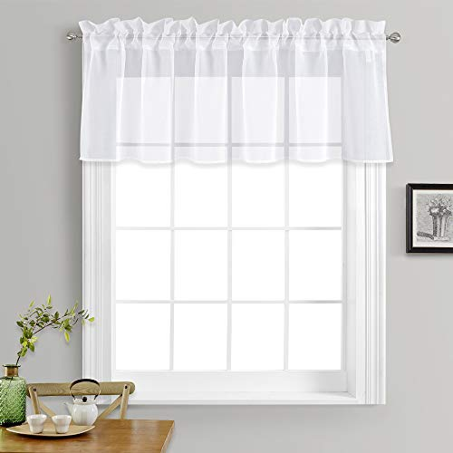 """NICETOWN Kitchen Window Treatment Voile Valances - Small Window Linen Look Sheer Curtain Tiers for Cafe Store (White, 2 Panels Per Package, 55"""" Wide x 18"""" Long)"""