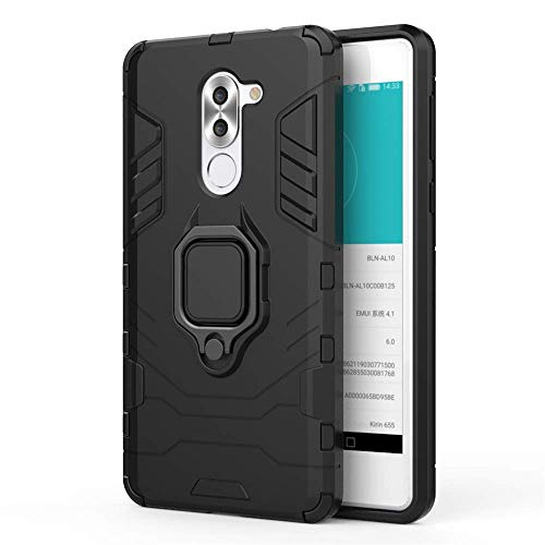 CHcase Huawei Honor 6X Hülle, 2in1 TPU+PC Schutzhülle Rugged Armor Car Mount Hülle Cover Dual Layer Bumper Backcover mit Ständer für Huawei Honor 6X (2017) / GR5 2017 / Huawei Mate 9 Lite -All Black
