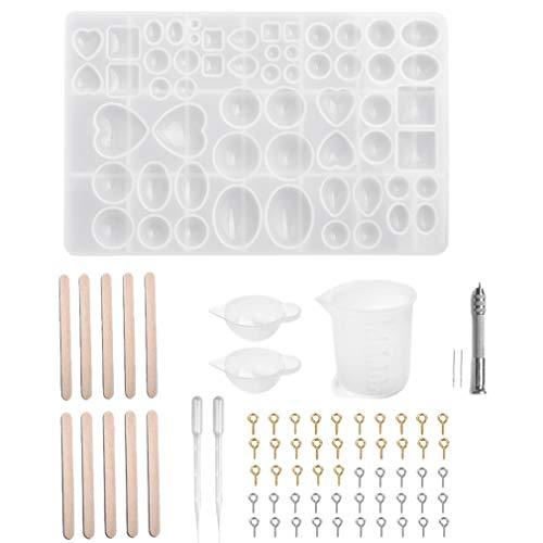 Jaimenalin Moldes de Resina Moldes de CombinacióN de Silicona Transparente DIY para Colgantes FabricacióN de Joyas Conjunto de Herramientas de FabricacióN de Joyas DIY