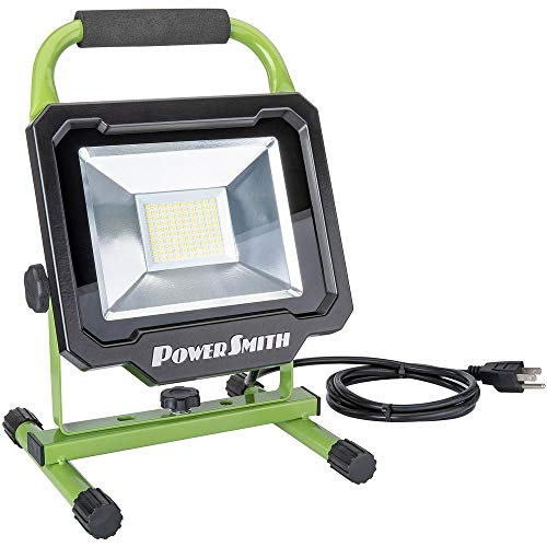 PowerSmith PWL150S 5000 Lumen LED Weatherproof Tiltable Work Light with Adjustable Metal Stand and Carrying Handle, Impact-Resistant Glass Lens, and 5 Power Cord
