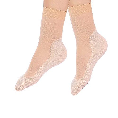 JYOHEY 5 Paar Nylon Söckchen Damen Seidenstrümpfe Ultradünne Transparente Kristall Socken Elastische Kurze Socken Anti-Rutsch-Baumwollsohle Feinstrümpfe Socken Damen Schwarz Grau Teint