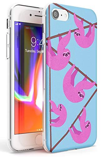 Preisvergleich Produktbild Case Warehouse rosa Sloth Slim Hülle kompatibel mit iPhone 7 Plus TPU Schutz Light Phone Tasche mit Mode Niedlich Obst Tropisch Mode