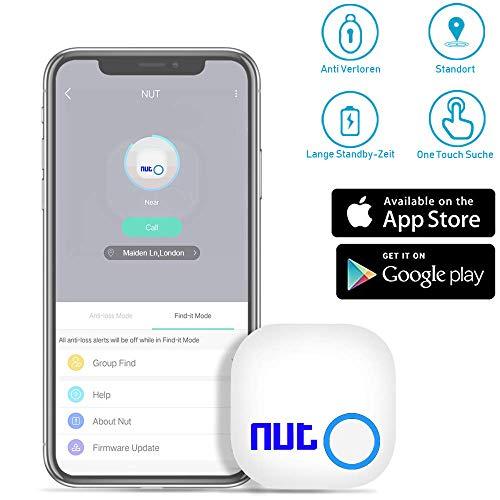 Schlüsselfinder Anti Verloren Tracker,Bluetooth Tracker GPS Locator Bidirektionale Alarm Erinnerung für Telefon Haustiere Keychain Wallet Gepäck Rucksäcke, Smart Tag mit APP (Weiß)