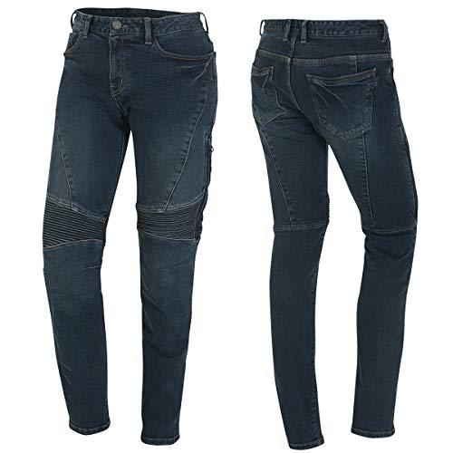 Germot Damen Motorrad-Jeans Kate, herausnehmbare Knie-Protektoren, Slim Fit, blau, Gr. 34/32