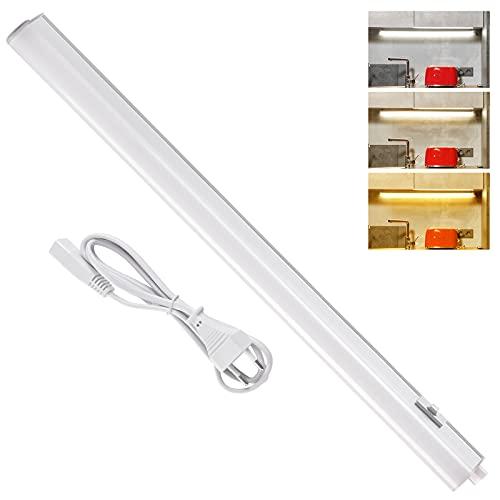 Lacyie Luce LED Sottopensile, 60cm 9W Luce Sottopensile Cucina LED Dimmerabile con 3 Colori Freddo/Caldo/Neutro,Barra LED Sottopensile Collegabile con Lampade Uguali per Cucina,Bagno,Armadio,Specchio