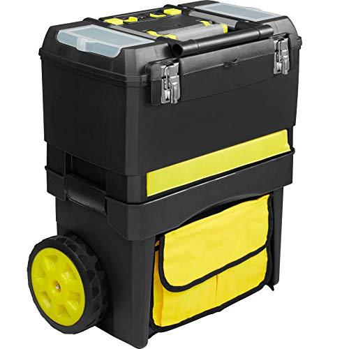 tectake 403598 XL Werkzeugtrolley leer mit Rollen, Kunststoff Werkzeugkasten mit abnehmbarem Kofferaufsatz, Drehschublade mit Kleinteilefächern, Außentasche, Teleskopgriff, große Räder