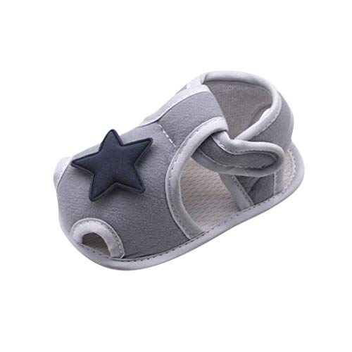 Mousmile Infant Baby Summer First Walking Shoes Indoor Sandals,Boys Girls Soft Cotton Sole Doll Shoe Non Slip Crib Shoes (0-6 Months, Gray)