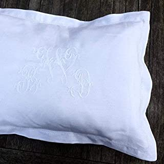 White 100% Linen Pillowcase, Oxford, Housewife, Hemstitch, Sham, Personalised Embroidered Heirloom Centred Custom Monogram