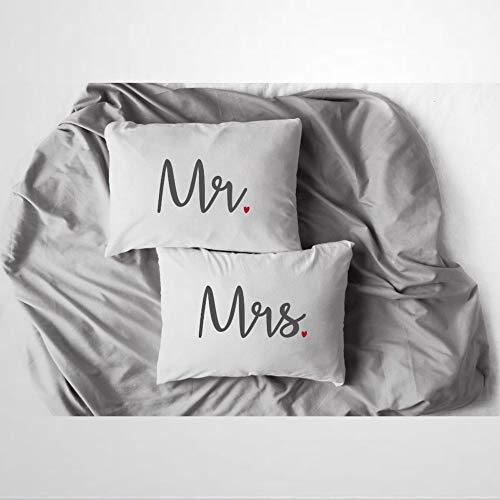 EricauBird Mr & Mrs - Fundas de almohada para parejas, para él y para ella, regalo de boda, regalo para él y para ella, regalo de boda, funda de cojín de 30,5 x 50,8 cm