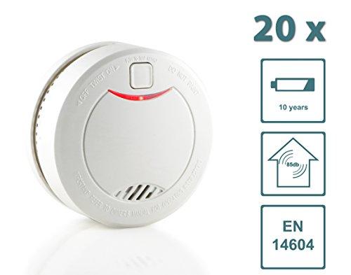 Slabo Rauchmelder/Feuermelder/Brandmelder mit 10 Jahres-Batterie und fotoelektrischen Sensor – Weiss - 20er Set