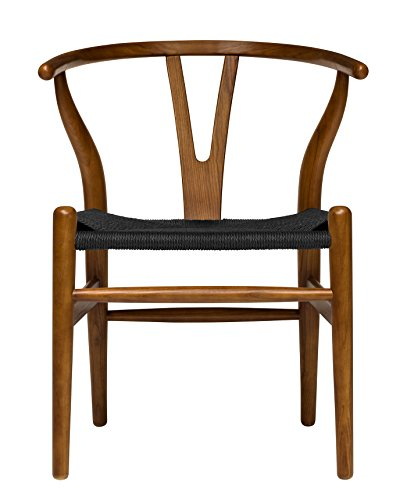 Hans Wegner Wishbone Style Woven Seat Chair (Walnut with Black Cord)