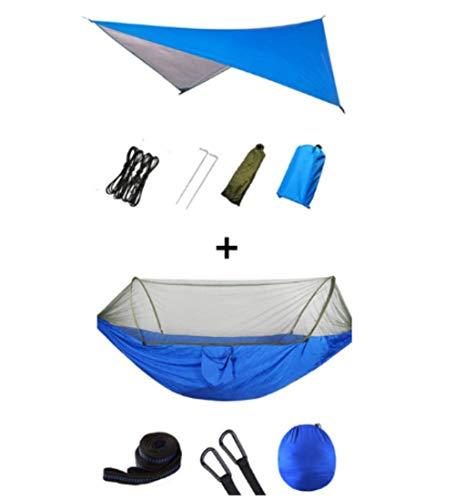 vcdee Outdoor Portable Hammock with Mosquito Net and Rain Fly Camping Backpacking Bug Hammocks and Netting Parachute Hammock Canopy