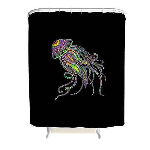 Zhcon Qualle Muster Duschvorhänge Wasserabweisend Top Qualität Vorhang Bad Vorhang mit Vorhanghaken 120x200cm White 200x200cm