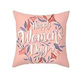 KnBoB Funda Almohada Happy Women's Day Planta Coral Púrpura Poliéster 40 x 40 cm Estilo 23
