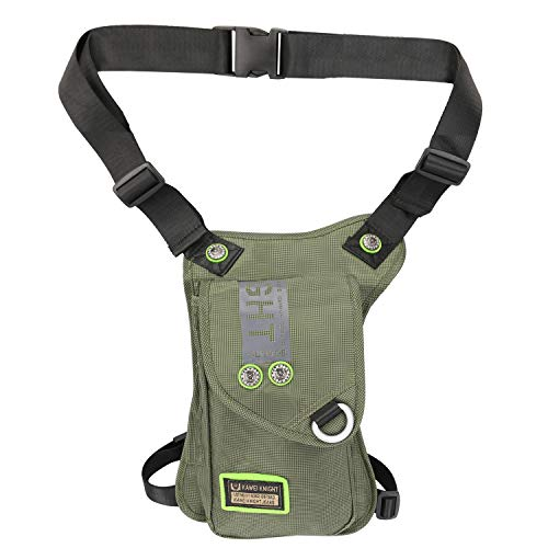 Kawei Knight Nylon Tactical Leg Bag Pouch Messenger Waterproof (B-Green)