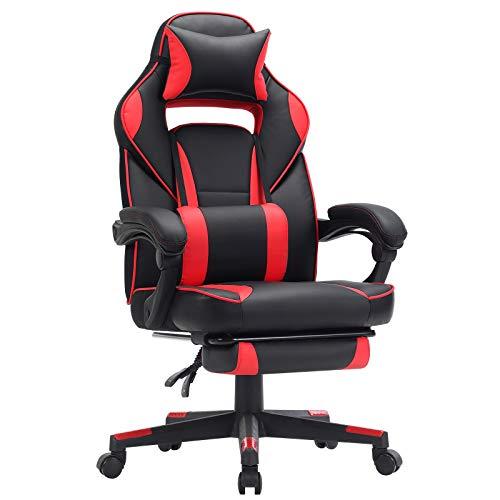 SONGMICS Fauteuil gamer, Chaise gaming, Siège de bureau réglable, avec repose-pieds télescopique, ergonomique, mécanisme basculent, appui-tête, support lombaire, charge 150 kg, Noir et rouge OBG73BRV1