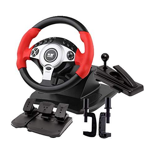 WYJW Juego de Carreras de 900 ° Volante Simulador de conducción de Camiones Profesional Freno de Mano + Juego de Pedales de Embrague Windows PC/Laptop compatibles, Rojo