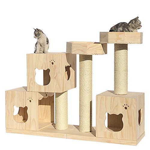 QinWenYan Katzenhaus Luxus-Katze-Haus-Möbel Raumkapsel Tätigkeit Holz Klettern Perches Haustier-Haus for Kätzchen Spielen Katzen und Haustiere für Cat (Farbe : Natural, Size : 35x98x120cm)