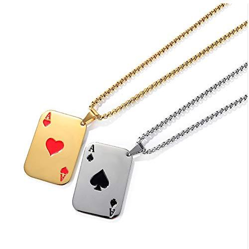 YHQKJ 2 Unids Men's Punk Rock Acero Inoxidable Jugar Tarjeta Poker Tag Colgante Collar, Colgantes de Ace de Corazones, Joyería de Moda para Hombres y Mujeres