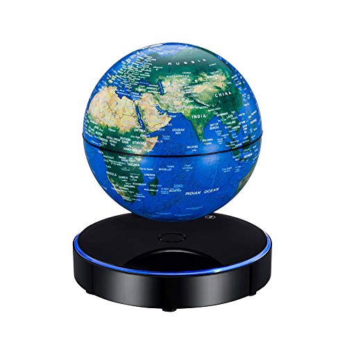 Magnetic Levitating World Map Globe with LED Light Base Anti-Gravity Floating Rotating 6 Inch Globe Earth Ball for Home Office Desk Decoration Students Educational Gift