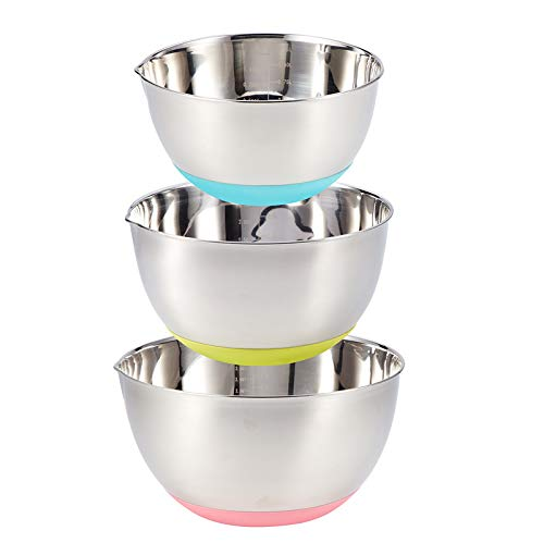 FAB4HOME 3 Pieces Stainless Steel Mixing Bowls Set with Spouts & Non Slip Silicone Base Multicolour, Nesting Metal Bowl Set for Baking Cooking Kitchen Serving-1.5L,3L,5L