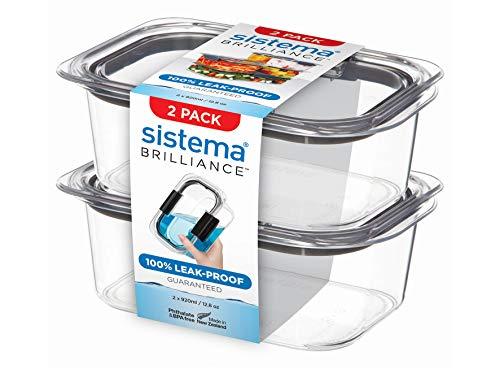 Sistema 920ml 2 Pack 920 ml Brilliance 2er-Pack, Plastik, Transparent/Grau, x 2