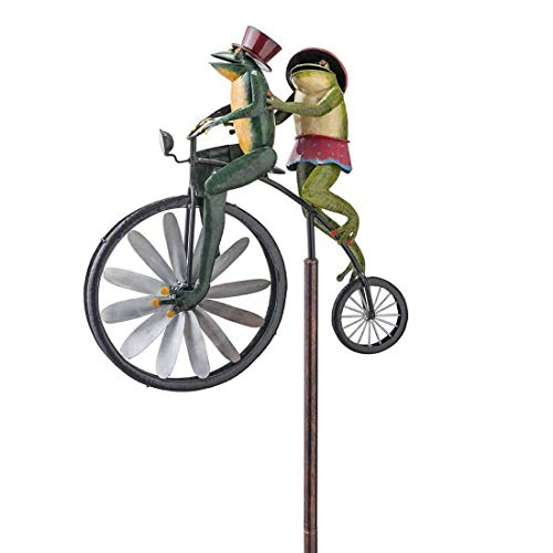 Bicycle Metal Wind Spinner, Garden Decor ,Frogs on a Bicycle, Handmade Bike ,Frogs,Cat & Rat,Bunnies,Mantis, Cute Animal Spinner Sculpture ,Yard Lawn Outdoor Decoration (A)