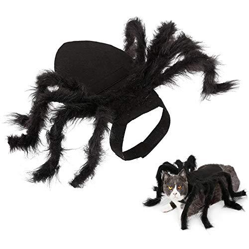 Lifreer Halloween Spider Pet Disfraces de araña, disfraz de perro de araña, trajes de perro de peluche para cosplay de gato y perro Halloween Party Cosplay Disfraces, tamaño pequeño