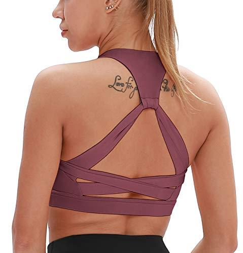 icyzone Damen Yoga Sport-BH mit Gepolstert Fitness Bustier Workout Running Bra (L, Fuchsie)