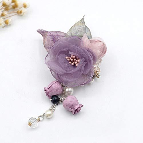 XZFCBH Gland en Soie Tissu Fleur Broche épingle de Revers Badge châle Boucle Femmes Tissu Art Doux Chemise col Accessoires Violet