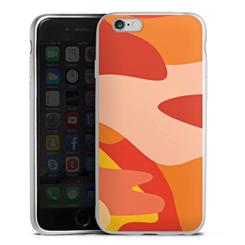 DeinDesign Cover kompatibel mit Apple iPhone 6s Silikon Hülle Silber Case Schutzhülle Camouflage Bundeswehr Orange