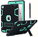 AICase Kickstand Funda iPad 2 iPad 3,iPad 4 resistente a los golpes de alto impacto, caucho resistente, funda protectora de armadura híbrida robusta de tres capas con lápiz óptico (Negro+azul menta)
