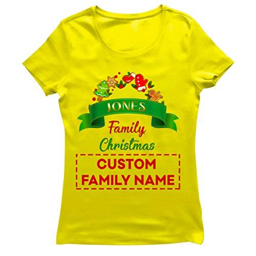 lepni.me Camiseta Mujer Personalizado Familia Trajes de Fiesta de Navidad del 2020 a Quego (Small Amarillo Multicolor)