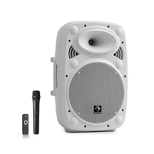 AUNA Streetstar 10 - Sistema PA Mobile, Subwoofer 10'(25,5 cm), Tecnologia XMR Bass, Microfono UHF, 400 W, Bluetooth, Porta USB/SD, AUX, Durata 3-5 Ore, Bianco