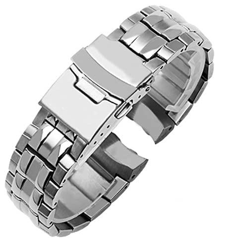 Correa Reloj Correa de Acero de precisión Compatible con CASIO Steel Reloj DE Reloj DE Reloj DE Mujer A Prueba de Agua Strap EF-535D-7A Cadena de Reloj Silver Negro Reemplazo (Band Color : Silver)