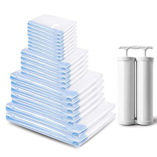 MRS BAG Vakuum Aufbewahrungsbeutel - Set aus 20 Wiederverwendbaren Platzsparern (4*Extragroß + 4*Groß + 6*Mittel + 6*Klein) mit Doppelte Handpumpe für Reisen, Kleidung, Bettdecken, Bettwäsche, Kissen