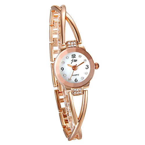 Reloj de Pulsera Cuarzo Ultra Delgada para Mujer, Reloj Pedrería Original, Gráfico Analógica, Color Plata, Moderno, Regalo Dia de la Madre, Avaner (Dorado)