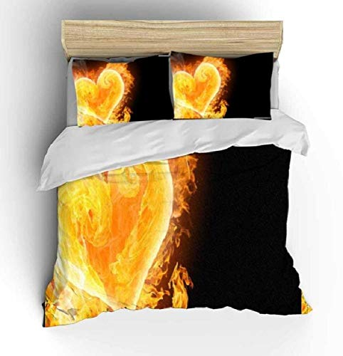 BAIYANG 3D Love Bedding Set Romantic Wedding Valentines Gift For Her 3Pcs Include Duvet Cover Bed Pillowcase Super King(260x220cm)