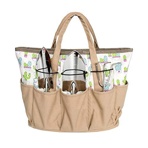 TOPINCN Garten-Werkzeugtasche mit 9 Taschen, Tragetasche, Mehrzweck-Organizer, Windel, Segeltuch, Taschen-Halter, robust, Garten- und Pflanzset, Geschenk für Männer oder Frauen, Beige