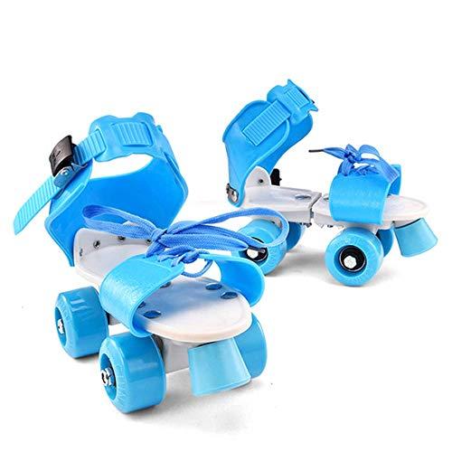 MY1MEY Single Wheel Sneaker Schuhe Kinder Rollschuhe, Quad verstellbare Skateschuhe Indoor/Outdoor Allrad Rollerblades, Mädchen und Jungen Einfache Rollschuhe, Blau