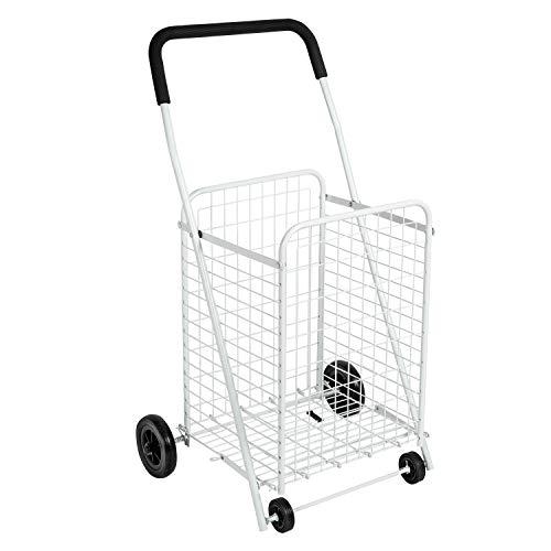Honey-Can-Do CRT-01513 Large Folding Shopping Cart Rolling 4-Wheel Utility Wagon, White