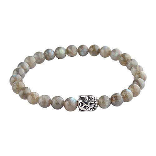 M K Cosmics Labradorite Bracelet 7inch Stretchy Chakra Gems Stones 7mm to 8mm (0.31') Beads Healing Crystal Quartz Women Men Girls Gifts (Unisex)