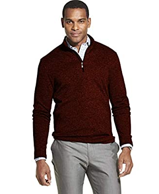Van Heusen Men's Flex Long Sleeve 1/4 Zip Soft Sweater Fleece, CHILI OIL, Large from Van Heusen