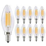 SONGYU Candelabro Retro 4W Bombilla LED Regulable, 400 Lúmenes, Bombilla de Araña LED Equivalente Vidrio Transparente de 40W, Bombilla de Vela LED de Filamento, Base E12, Blanco Cálido
